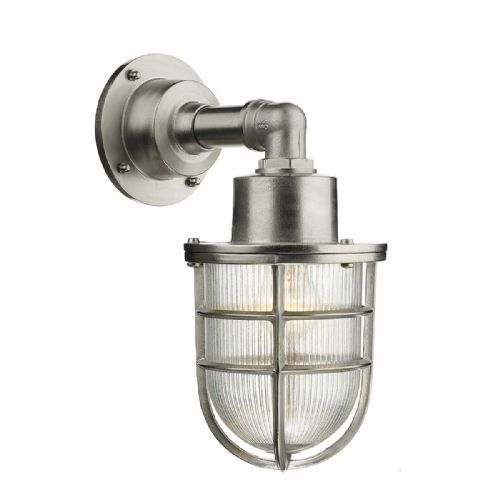 Crewe 1 Light Down Wall Light Nickel IP44 (Hand made, 7-10 day Delivery)
